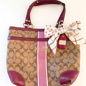 Coach handbag: purple leather, brown canvas, 12x10
